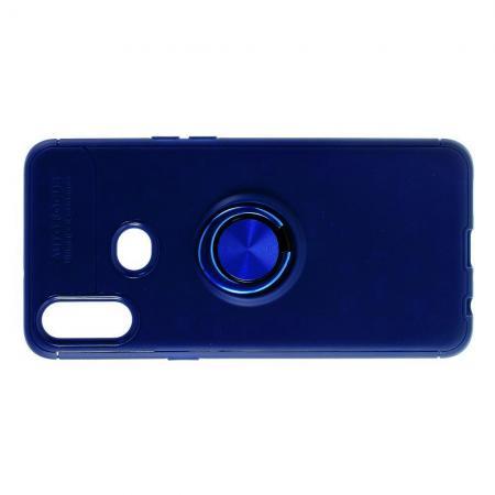 Силиконовый Чехол для Магнитного Держателя с Кольцом для Пальца Подставкой для Samsung Galaxy A10s Синий