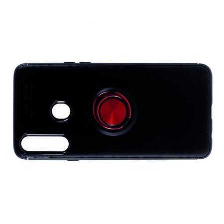 Силиконовый Чехол для Магнитного Держателя с Кольцом для Пальца Подставкой для Samsung Galaxy A20s Красный / Черный