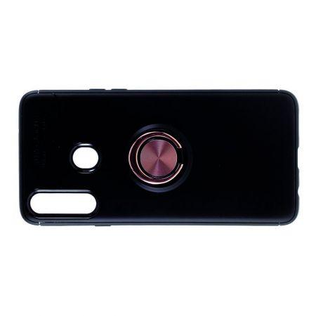 Силиконовый Чехол для Магнитного Держателя с Кольцом для Пальца Подставкой для Samsung Galaxy A20s Розовое Золото / Черный