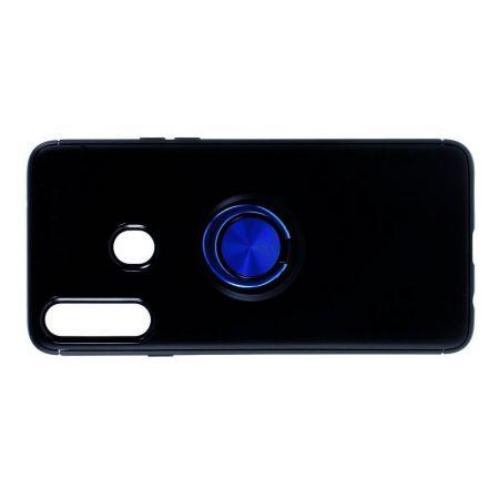 Силиконовый Чехол для Магнитного Держателя с Кольцом для Пальца Подставкой для Samsung Galaxy A20s Синий / Черный