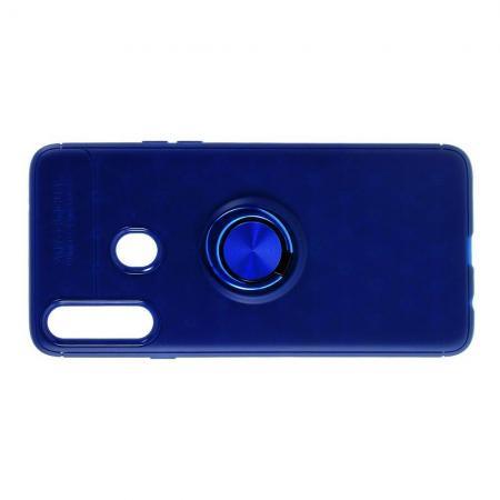 Силиконовый Чехол для Магнитного Держателя с Кольцом для Пальца Подставкой для Samsung Galaxy A20s Синий