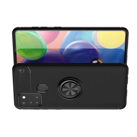 Силиконовый Чехол для Магнитного Держателя с Кольцом для Пальца Подставкой для Samsung Galaxy A21s Черный