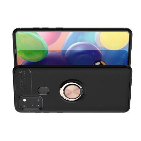 Силиконовый Чехол для Магнитного Держателя с Кольцом для Пальца Подставкой для Samsung Galaxy A21s Розовое Золото / Черный