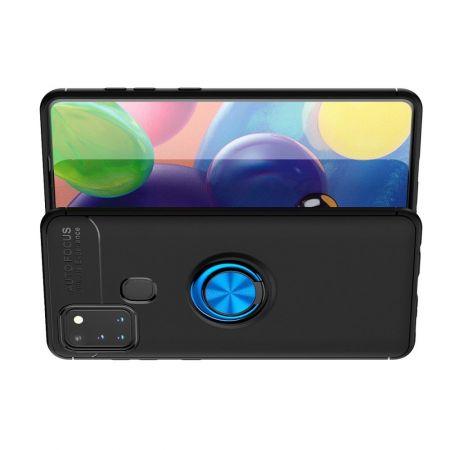 Силиконовый Чехол для Магнитного Держателя с Кольцом для Пальца Подставкой для Samsung Galaxy A21s Синий / Черный