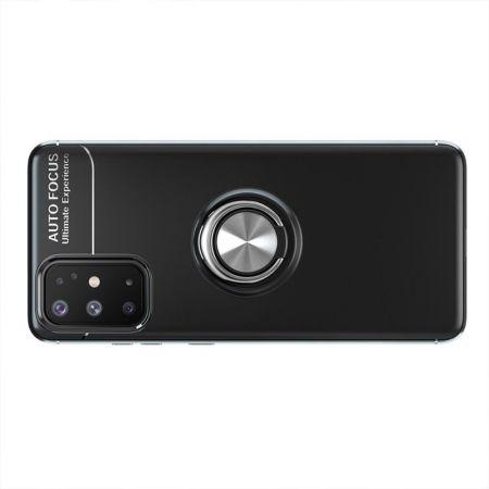 Силиконовый Чехол для Магнитного Держателя с Кольцом для Пальца Подставкой для Samsung Galaxy A31 Черный