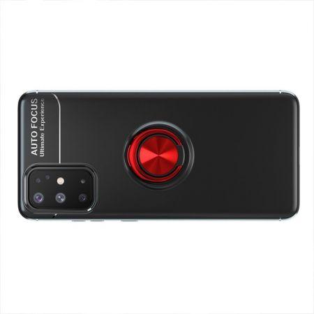 Силиконовый Чехол для Магнитного Держателя с Кольцом для Пальца Подставкой для Samsung Galaxy A31 Красный / Черный