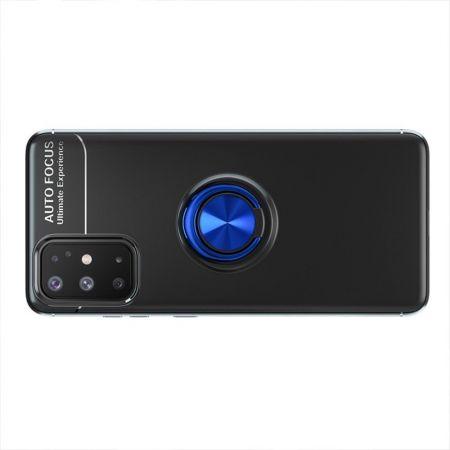 Силиконовый Чехол для Магнитного Держателя с Кольцом для Пальца Подставкой для Samsung Galaxy A31 Синий / Черный