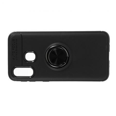 Силиконовый Чехол для Магнитного Держателя с Кольцом для Пальца Подставкой для Samsung Galaxy A40 Черный