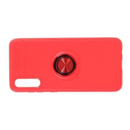 Силиконовый Чехол для Магнитного Держателя с Кольцом для Пальца Подставкой для Samsung Galaxy A50 Красный