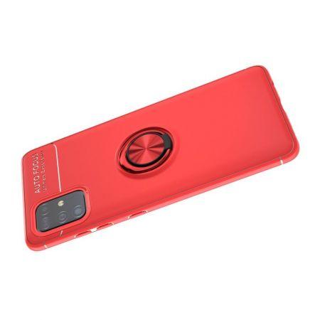 Силиконовый Чехол для Магнитного Держателя с Кольцом для Пальца Подставкой для Samsung Galaxy A51 Красный