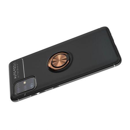 Силиконовый Чехол для Магнитного Держателя с Кольцом для Пальца Подставкой для Samsung Galaxy A51 Розовое Золото / Черный