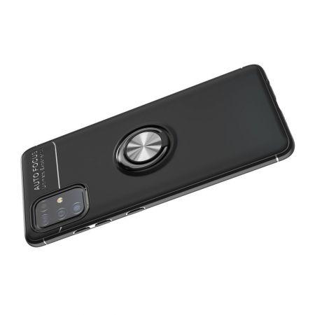 Силиконовый Чехол для Магнитного Держателя с Кольцом для Пальца Подставкой для Samsung Galaxy A51 Черный