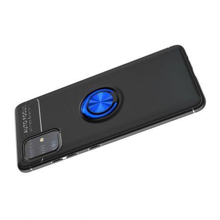 Силиконовый Чехол для Магнитного Держателя с Кольцом для Пальца Подставкой для Samsung Galaxy A51 Синий / Черный