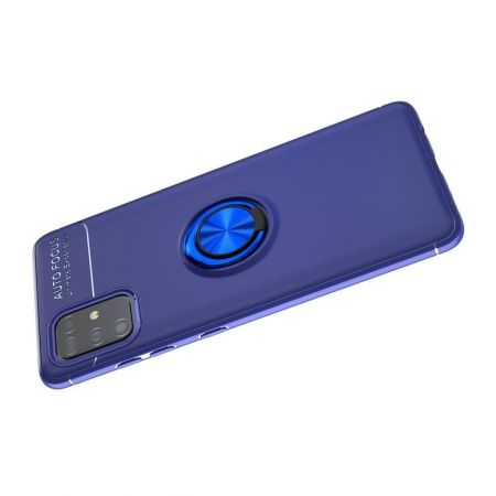 Силиконовый Чехол для Магнитного Держателя с Кольцом для Пальца Подставкой для Samsung Galaxy A51 Синий