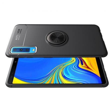 Силиконовый Чехол для Магнитного Держателя с Кольцом для Пальца Подставкой для Samsung Galaxy A7 2018 SM-A750 Черный