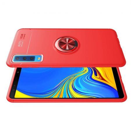 Силиконовый Чехол для Магнитного Держателя с Кольцом для Пальца Подставкой для Samsung Galaxy A7 2018 SM-A750 Красный
