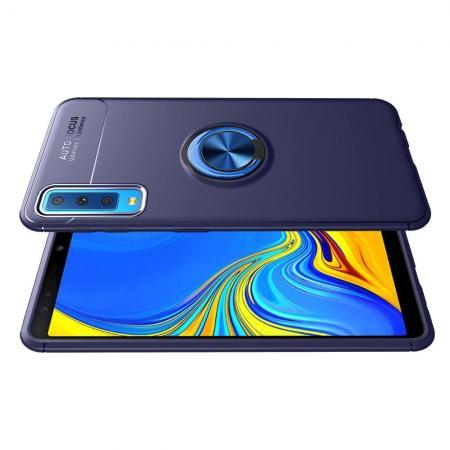 Силиконовый Чехол для Магнитного Держателя с Кольцом для Пальца Подставкой для Samsung Galaxy A7 2018 SM-A750 Синий