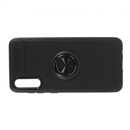 Силиконовый Чехол для Магнитного Держателя с Кольцом для Пальца Подставкой для Samsung Galaxy A70 Черный