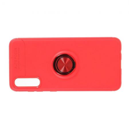 Силиконовый Чехол для Магнитного Держателя с Кольцом для Пальца Подставкой для Samsung Galaxy A70 Красный