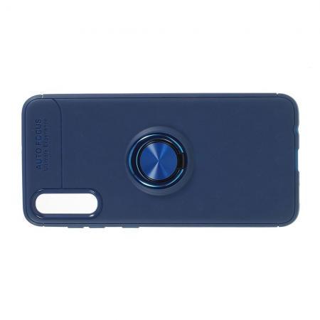 Силиконовый Чехол для Магнитного Держателя с Кольцом для Пальца Подставкой для Samsung Galaxy A70 Синий
