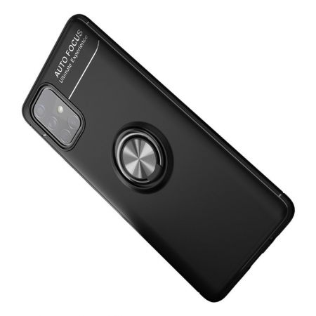 Силиконовый Чехол для Магнитного Держателя с Кольцом для Пальца Подставкой для Samsung Galaxy A71 Черный