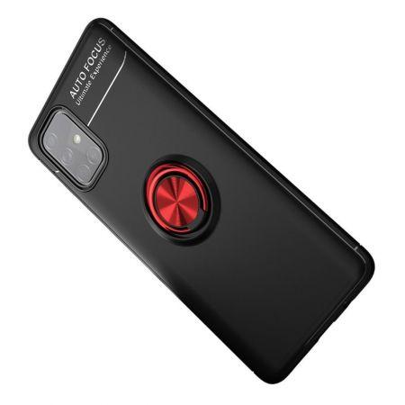 Силиконовый Чехол для Магнитного Держателя с Кольцом для Пальца Подставкой для Samsung Galaxy A71 Красный / Черный