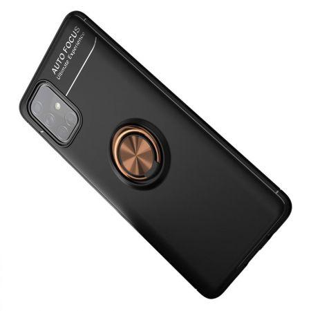 Силиконовый Чехол для Магнитного Держателя с Кольцом для Пальца Подставкой для Samsung Galaxy A71 Розовое Золото / Черный