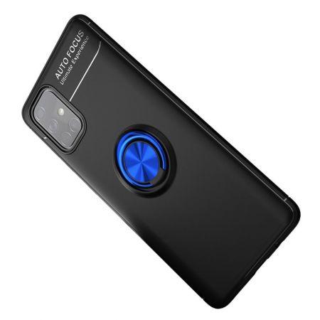 Силиконовый Чехол для Магнитного Держателя с Кольцом для Пальца Подставкой для Samsung Galaxy A71 Синий / Черный