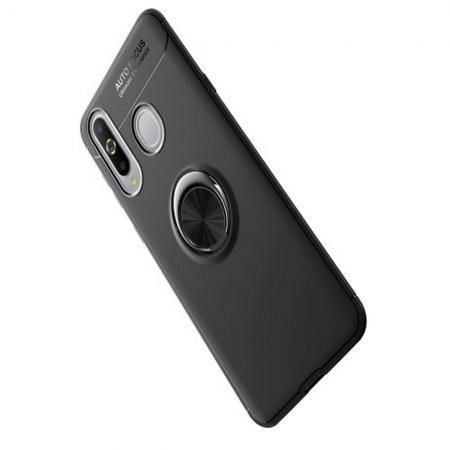 Силиконовый Чехол для Магнитного Держателя с Кольцом для Пальца Подставкой для Samsung Galaxy A8s Черный
