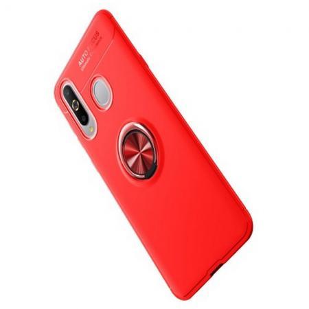Силиконовый Чехол для Магнитного Держателя с Кольцом для Пальца Подставкой для Samsung Galaxy A8s Красный