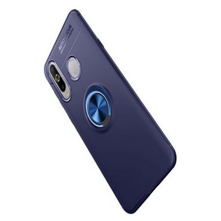 Силиконовый Чехол для Магнитного Держателя с Кольцом для Пальца Подставкой для Samsung Galaxy A8s Синий