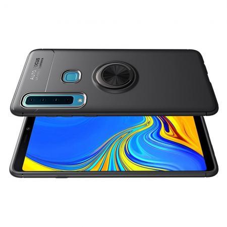Силиконовый Чехол для Магнитного Держателя с Кольцом для Пальца Подставкой для Samsung Galaxy A9 2018 SM-A920F Черный