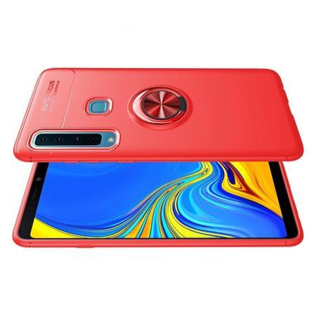 Силиконовый Чехол для Магнитного Держателя с Кольцом для Пальца Подставкой для Samsung Galaxy A9 2018 SM-A920F Красный