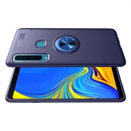 Силиконовый Чехол для Магнитного Держателя с Кольцом для Пальца Подставкой для Samsung Galaxy A9 2018 SM-A920F Синий