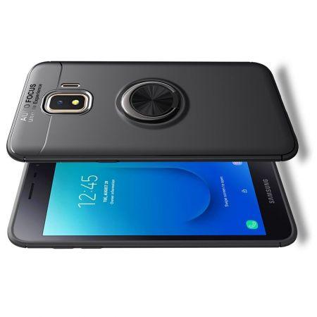 Силиконовый Чехол для Магнитного Держателя с Кольцом для Пальца Подставкой для Samsung Galaxy J2 Core (2020) Черный