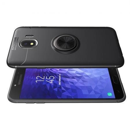 Силиконовый Чехол для Магнитного Держателя с Кольцом для Пальца Подставкой для Samsung Galaxy J4 2018 SM-J400 Черный