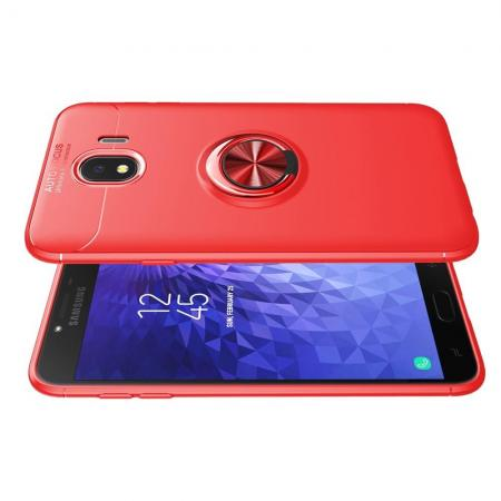 Силиконовый Чехол для Магнитного Держателя с Кольцом для Пальца Подставкой для Samsung Galaxy J4 2018 SM-J400 Красный