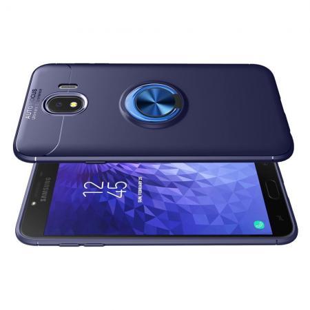 Силиконовый Чехол для Магнитного Держателя с Кольцом для Пальца Подставкой для Samsung Galaxy J4 2018 SM-J400 Синий