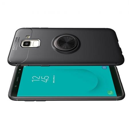Силиконовый Чехол для Магнитного Держателя с Кольцом для Пальца Подставкой для Samsung Galaxy J6 SM-J600 Черный