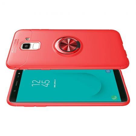 Силиконовый Чехол для Магнитного Держателя с Кольцом для Пальца Подставкой для Samsung Galaxy J6 SM-J600 Красный