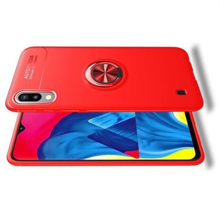 Силиконовый Чехол для Магнитного Держателя с Кольцом для Пальца Подставкой для Samsung Galaxy M10 Красный