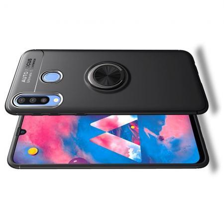 Силиконовый Чехол для Магнитного Держателя с Кольцом для Пальца Подставкой для Samsung Galaxy M30 Черный