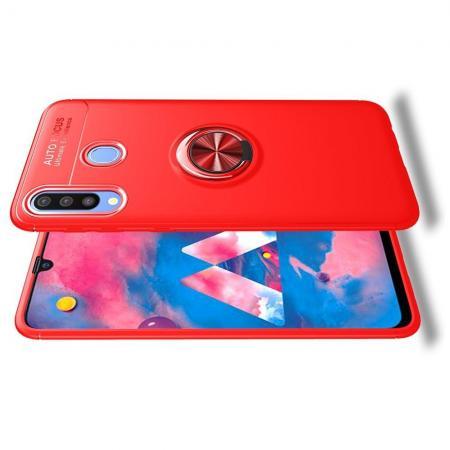 Силиконовый Чехол для Магнитного Держателя с Кольцом для Пальца Подставкой для Samsung Galaxy M30 Красный