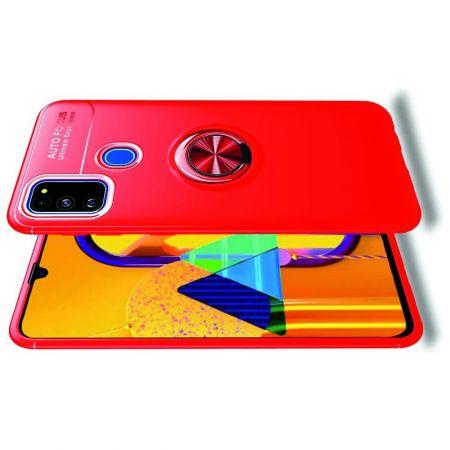 Силиконовый Чехол для Магнитного Держателя с Кольцом для Пальца Подставкой для Samsung Galaxy M30s Красный