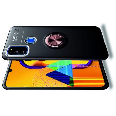 Силиконовый Чехол для Магнитного Держателя с Кольцом для Пальца Подставкой для Samsung Galaxy M30s Розовое Золото / Черный