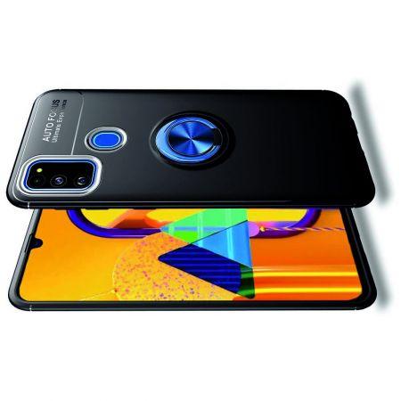 Силиконовый Чехол для Магнитного Держателя с Кольцом для Пальца Подставкой для Samsung Galaxy M30s Синий / Черный