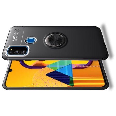 Силиконовый Чехол для Магнитного Держателя с Кольцом для Пальца Подставкой для Samsung Galaxy M31 Черный