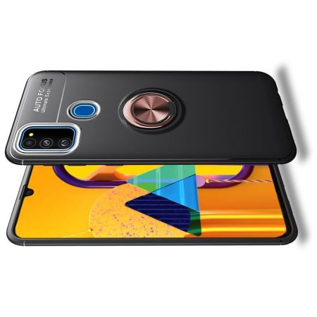Силиконовый Чехол для Магнитного Держателя с Кольцом для Пальца Подставкой для Samsung Galaxy M31 Розовое Золото / Черный