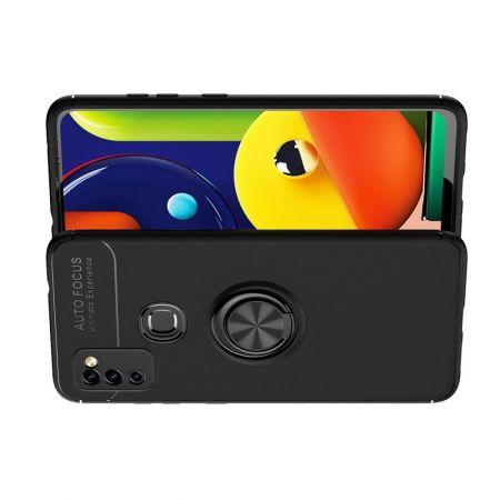 Силиконовый Чехол для Магнитного Держателя с Кольцом для Пальца Подставкой для Samsung Galaxy M51 Черный