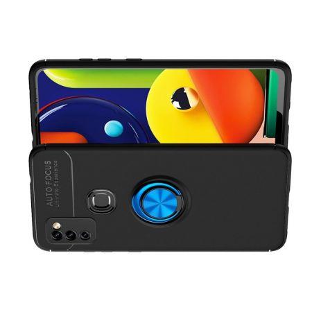 Силиконовый Чехол для Магнитного Держателя с Кольцом для Пальца Подставкой для Samsung Galaxy M51 Синий / Черный